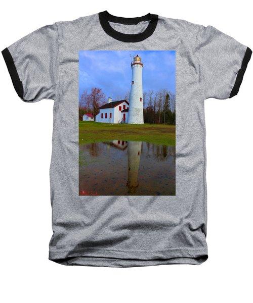 Sturgeon Point Lighthouse Baseball T-Shirt by Michael Rucker