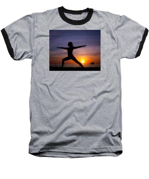 Sunset Yoga Baseball T-Shirt