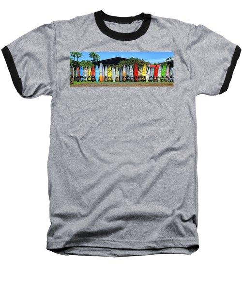 Surfboard Fence Maui Hawaii Baseball T-Shirt by Peter Dang