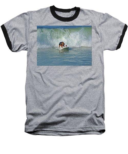 Surfing Dog Baseball T-Shirt