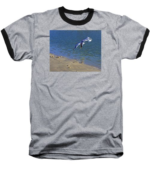 Baseball T-Shirt featuring the photograph 2 Terns In Flight by Robb Stan