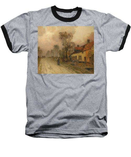 Baseball T-Shirt featuring the painting The Route Nationale At Samer by Jean-Charles Cazin