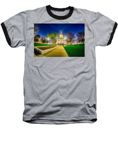 Baseball T-Shirt featuring the photograph Topeka Kansas Downtown At Night by Alex Grichenko