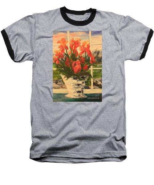 Tulips Baseball T-Shirt by Nancy Czejkowski