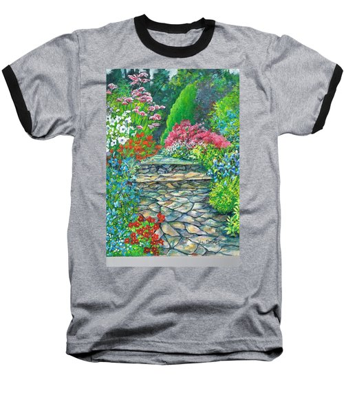 Baseball T-Shirt featuring the painting Up The Garden Path by Val Stokes