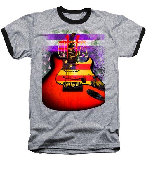 Baseball T-Shirt featuring the photograph Red Usa Flag Guitar  by Guitar Wacky