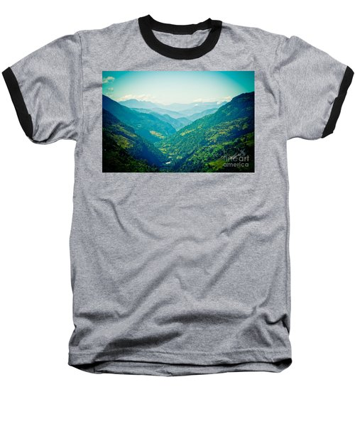 Valley Himalayas Mountain Nepal Baseball T-Shirt