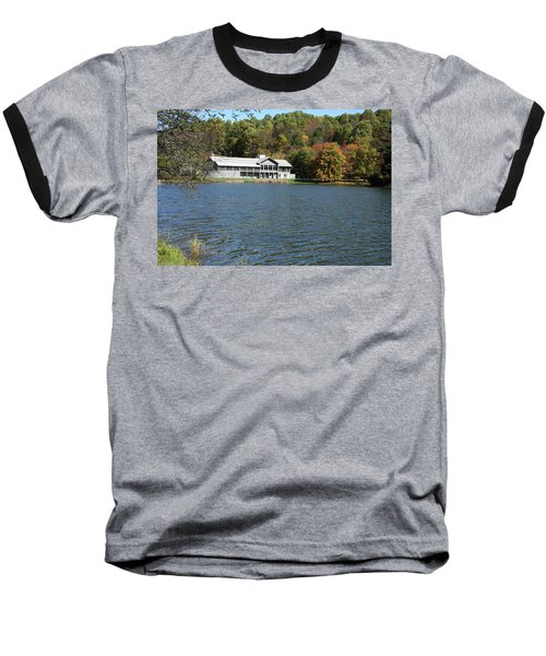 View Of Peaks Of Otter Lodge And Abbott Lake  In Autumn Baseball T-Shirt