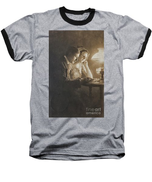Vintage Loving Couple Reading With Oil Lamp Baseball T-Shirt