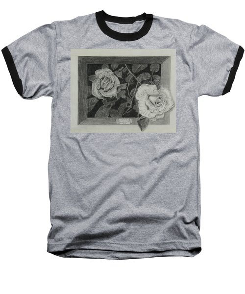 Baseball T-Shirt featuring the drawing 2 White Roses by Quwatha Valentine