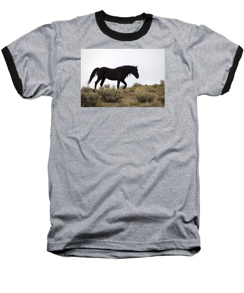 Wild Black Mustang Stallion Baseball T-Shirt