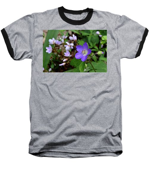 Wild Geranium Baseball T-Shirt by Tim Good