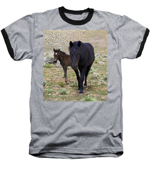 Wild Mustang Mare And Foal Baseball T-Shirt