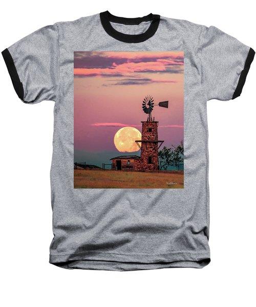 Windmill At Moonset Baseball T-Shirt