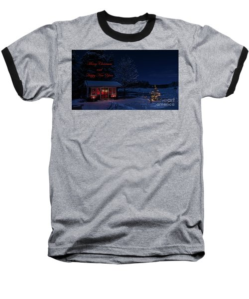Baseball T-Shirt featuring the photograph Winter Night Greetings In English by Torbjorn Swenelius