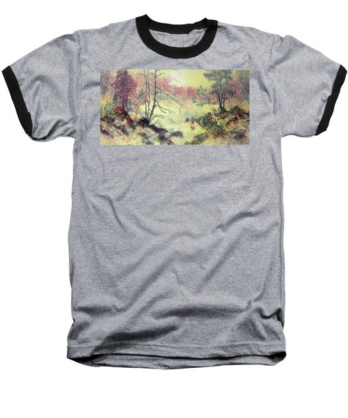 Baseball T-Shirt featuring the painting Woods And Wetlands by Carolyn Rosenberger