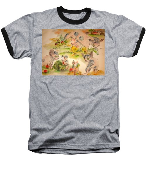 Baseball T-Shirt featuring the painting World Of Guinea Pigs And Naked Cats Album by Debbi Saccomanno Chan