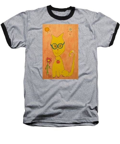 Yellow Cat With Glasses Baseball T-Shirt