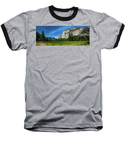 Yosemite Valley Meadow Panorama Baseball T-Shirt