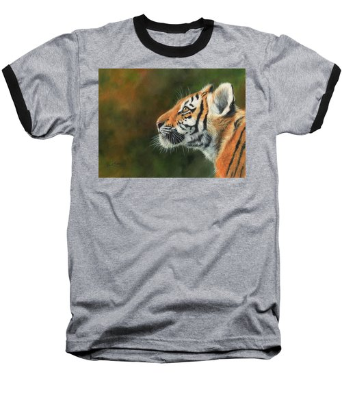 Baseball T-Shirt featuring the painting Young Amur Tiger  by David Stribbling