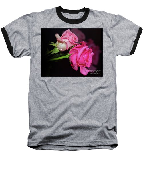 Two Roses Baseball T-Shirt by Elvira Ladocki
