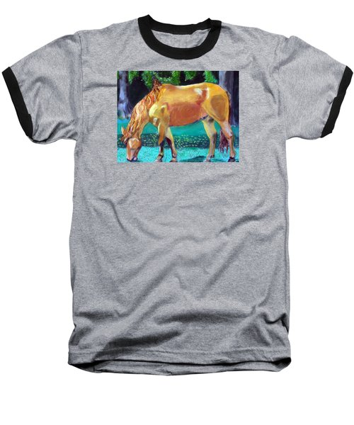 2009081315 Grazing Horse Baseball T-Shirt by Garland Oldham