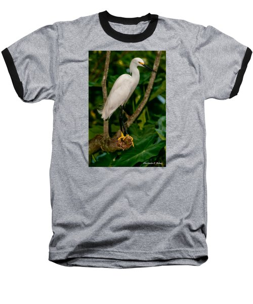 Baseball T-Shirt featuring the photograph White Egret by Christopher Holmes