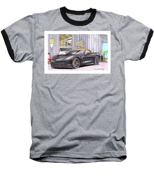 Baseball T-Shirt featuring the painting 2014 Corvette And Man Cave Garage by Jack Pumphrey