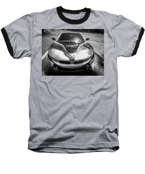 2015 Bmw I8 Hybrid Sports Car Bw Baseball T-Shirt by Rich Franco