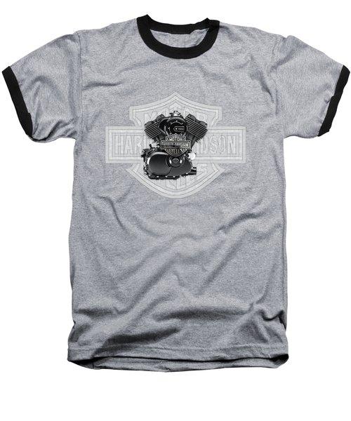 Baseball T-Shirt featuring the digital art 2015 Harley-davidson Street-xg750 Engine With 3d Badge  by Serge Averbukh