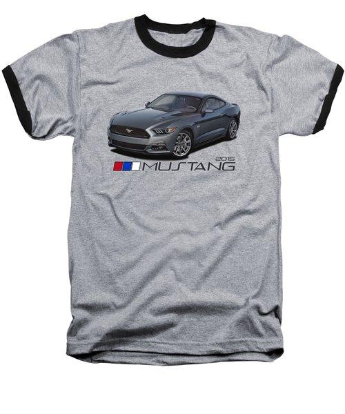 2015 Metallic Grey Mustang Baseball T-Shirt