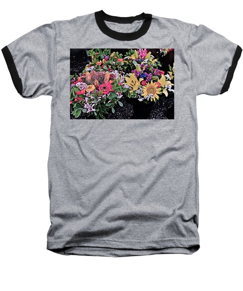 2015 Monona Farmers Market Flowers 1 Baseball T-Shirt