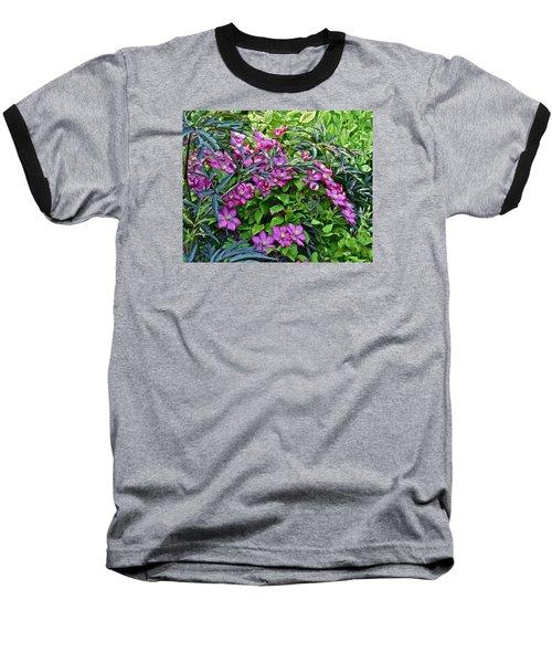 2015 Summer At The Garden Beautiful Clematis Baseball T-Shirt by Janis Nussbaum Senungetuk
