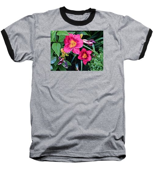 2015 Summer At The Garden Strawberry Candy Daylily 2 Baseball T-Shirt