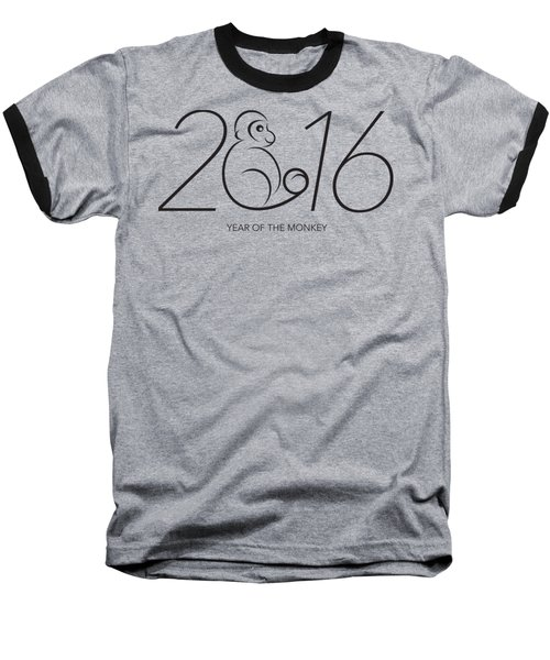 2016 Year Of The Monkey Numerals Line Art Baseball T-Shirt
