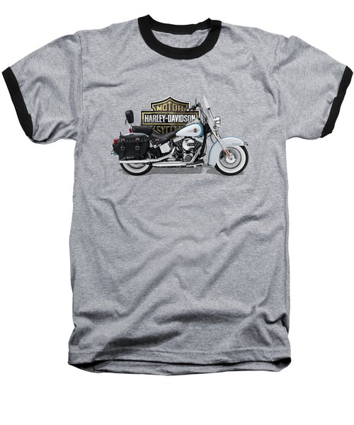 Baseball T-Shirt featuring the digital art 2017 Harley-davidson Heritage Softail Classic  Motorcycle With 3d Badge Over Vintage Background  by Serge Averbukh