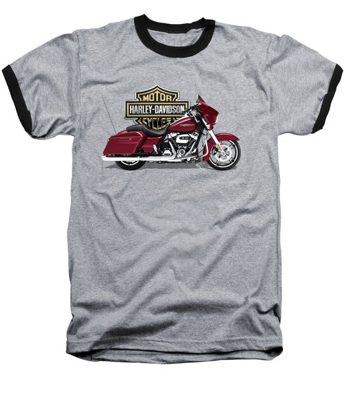 Baseball T-Shirt featuring the digital art 2017 Harley-davidson Street Glide Special Motorcycle With 3d Badge Over Vintage Background  by Serge Averbukh