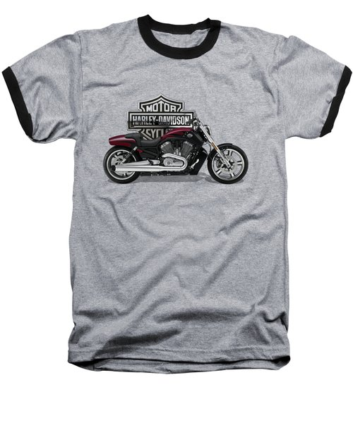 Baseball T-Shirt featuring the digital art 2017 Harley-davidson V-rod Muscle Motorcycle With 3d Badge Over Vintage Background  by Serge Averbukh