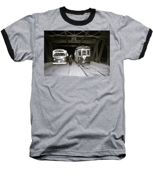 207th Street Crosstown Trolley Baseball T-Shirt by Cole Thompson
