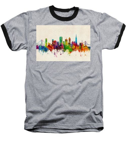 San Francisco City Skyline Baseball T-Shirt