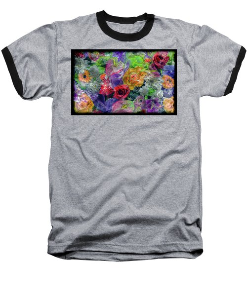 21a Abstract Floral Painting Digital Expressionism Baseball T-Shirt