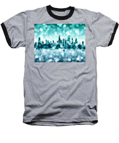 Chicago Illinois Skyline Baseball T-Shirt by Michael Tompsett