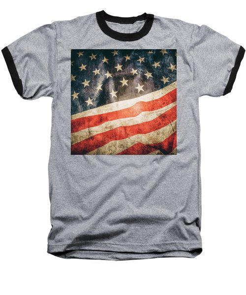 Baseball T-Shirt featuring the photograph American Flag by Les Cunliffe