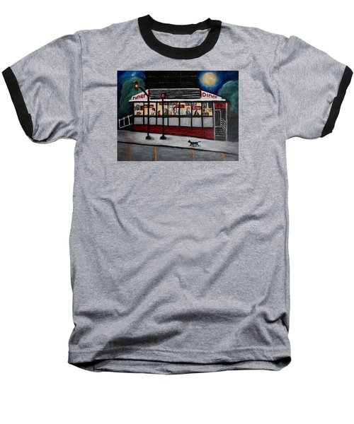 Baseball T-Shirt featuring the painting 24 Hour Diner by Victoria Lakes