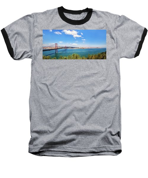 Baseball T-Shirt featuring the photograph 25th April Bridge Lisbon by Marion McCristall