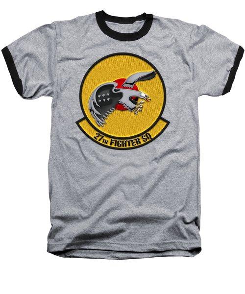 27th Fighter Squadron - 27 Fs Over Blue Velvet Baseball T-Shirt by Serge Averbukh