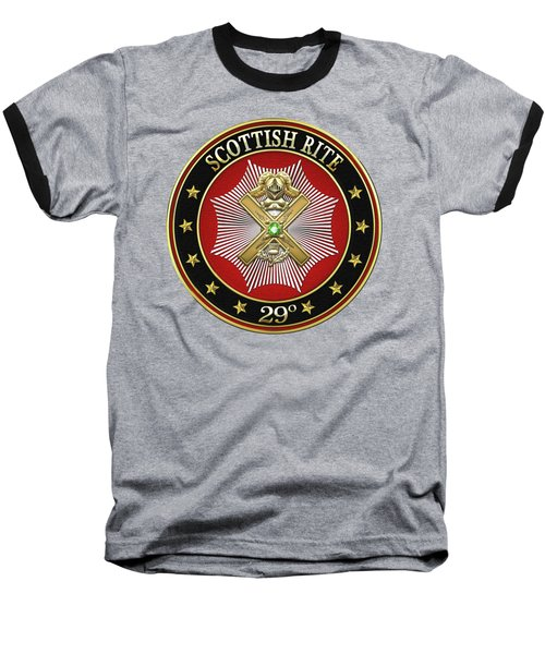 29th Degree - Scottish Knight Of Saint Andrew Jewel On Black Leather Baseball T-Shirt