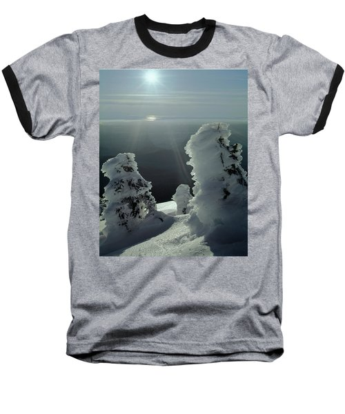 2m4415 A Ice Covered Trees Over Puget Sound Baseball T-Shirt