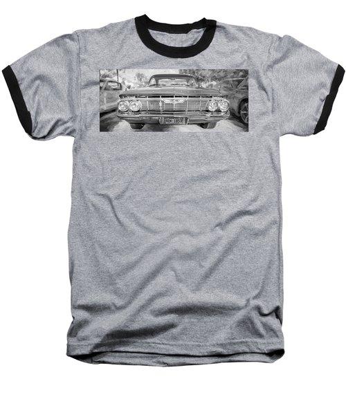 1961 Chevrolet Impala Ss Bw Baseball T-Shirt by Rich Franco