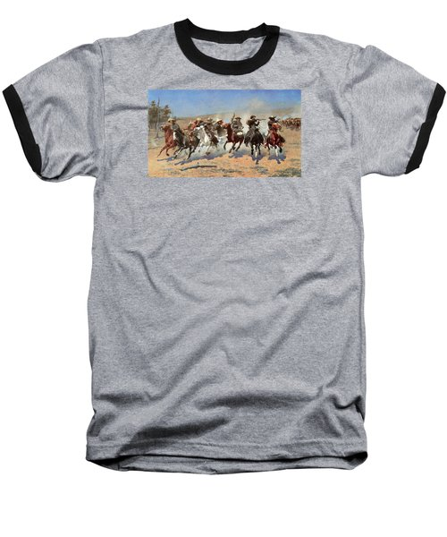 A Dash For The Timber Baseball T-Shirt by Frederic Remington